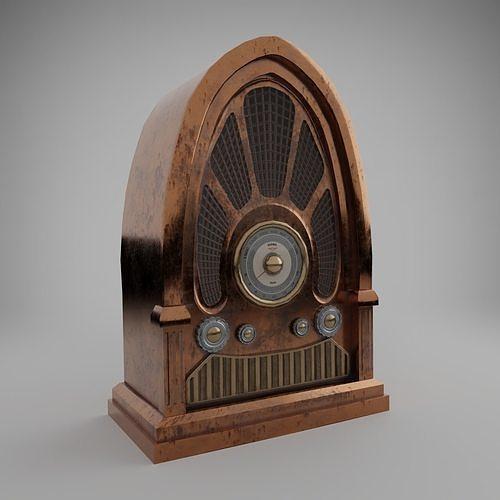 old radio 3d model low-poly obj mtl fbx blend dae 1