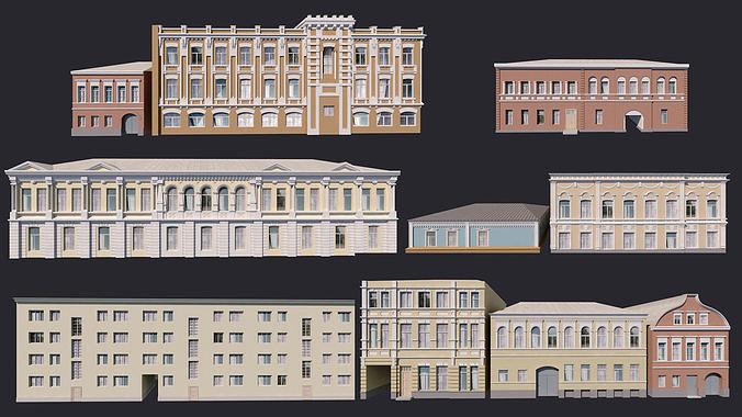 building facades bundle 3d model low-poly max 3ds fbx 1