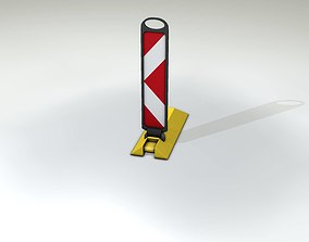 Yellow guide barrier 15 pointing left 628-11 3D model