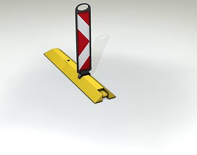 Yellow guide barrier 24 pointing right 3D model
