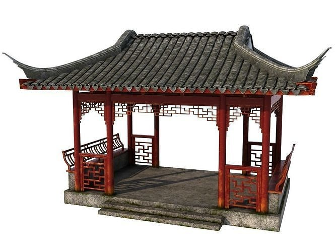 chinese rectangle pavilion 3d model ma mb 1