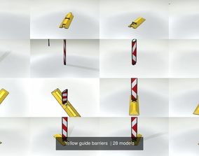 3D Yellow guide barriers