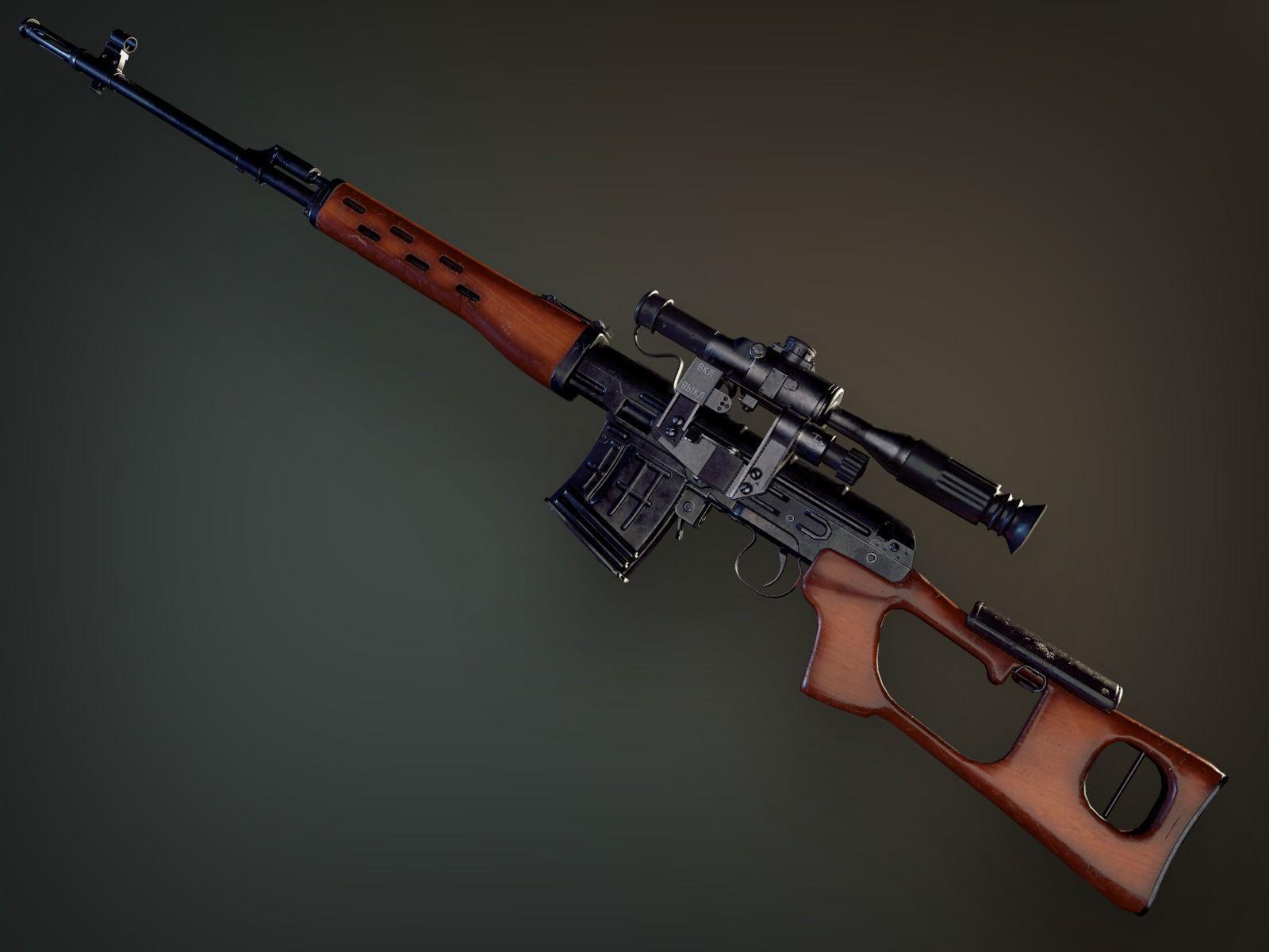 Lowpoly PBR Dragunov Sniper Rifle SVD