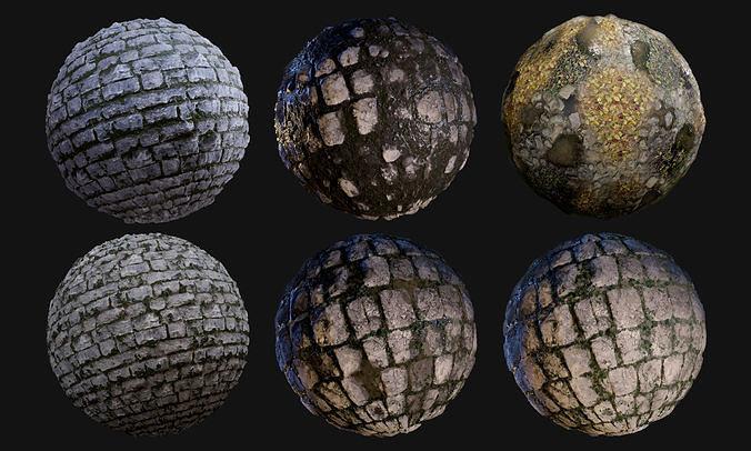 cobblestone seamless pbr texture pack  3d model obj mtl 1