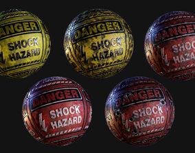 Danger Hazard Sign Seamless PBR Texture Pack 3D