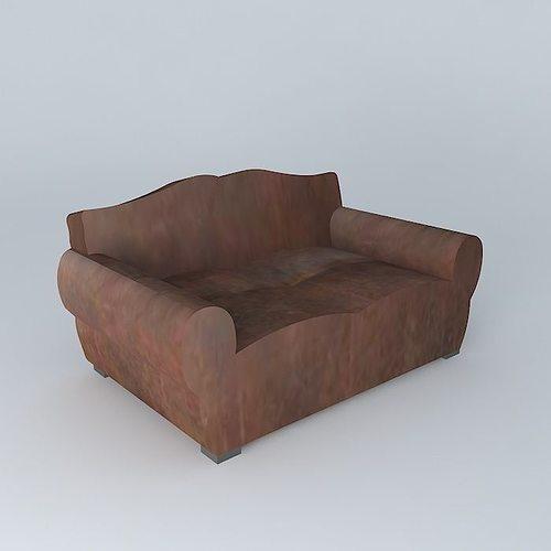 2 seater leather sofa MUSTACHE Maisons du monde 3D model MAX OBJ MTL ...