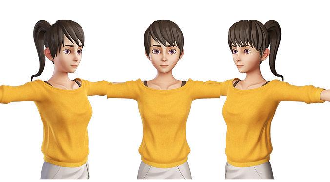 teen girl orange 3d model rigged ma mb 1