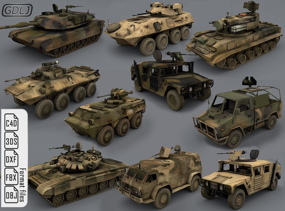 Army vehicles - 10 3d models Ready for games | 3D model