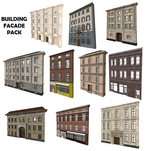 building facade pack 3d model low-poly max obj mtl fbx c4d blend 1