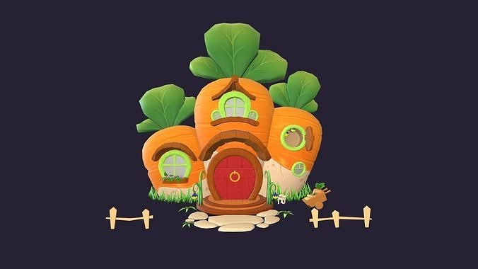asset - cartoons - background - house carrot - hight poly 3d model low-poly max obj mtl fbx ma mb hrc xsi tga 1