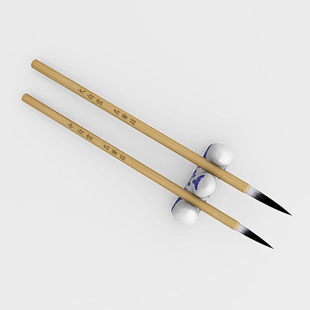 Chinese Calligraphy Brush Pen With Holder 3d Model Max Obj