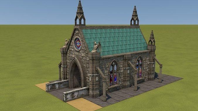 mittelalterliche kapelle - medieval church 3d model obj mtl 3ds c4d mat sbs sbsar 1