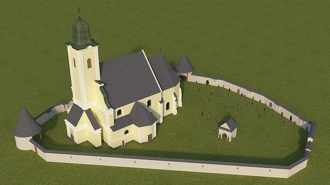 rural baroque catholic church 3d model obj mtl 3ds fbx stl 3dm 1