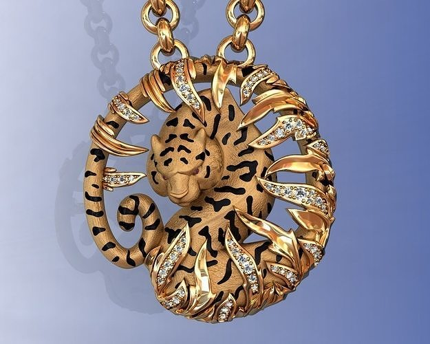 tiger necklace carrera bamboo with enamel and gems 3d model stl 3dm 1