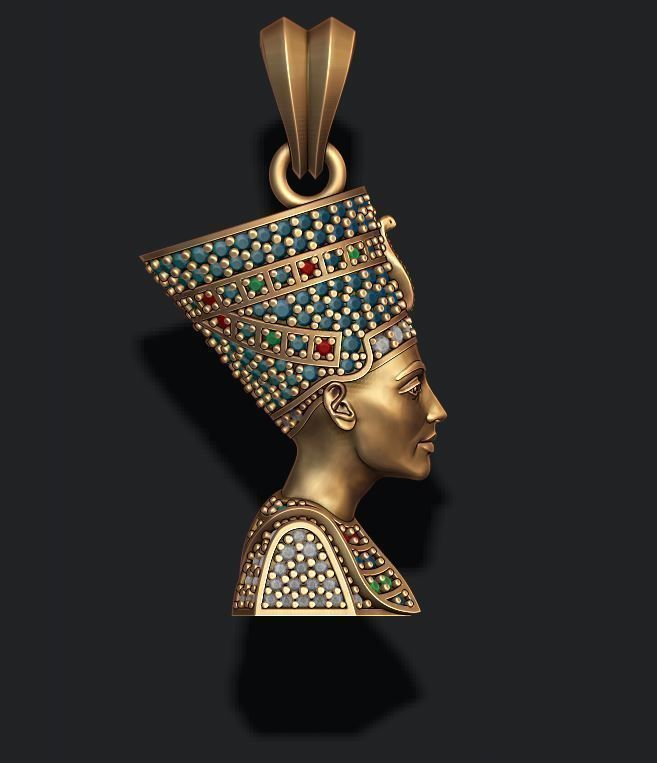 Nefertiti pendant with gems
