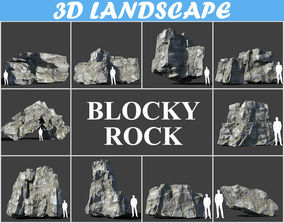 3D Low poly Blocky Rock Mossy Pack 190103