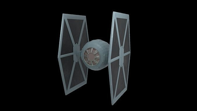 starwars - lowpoly tie fighter 3d model low-poly rigged animated obj mtl 3ds fbx blend spp 1