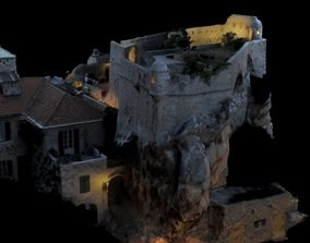 Realistic Medieval Castle on rock textured and mapped 3D 1