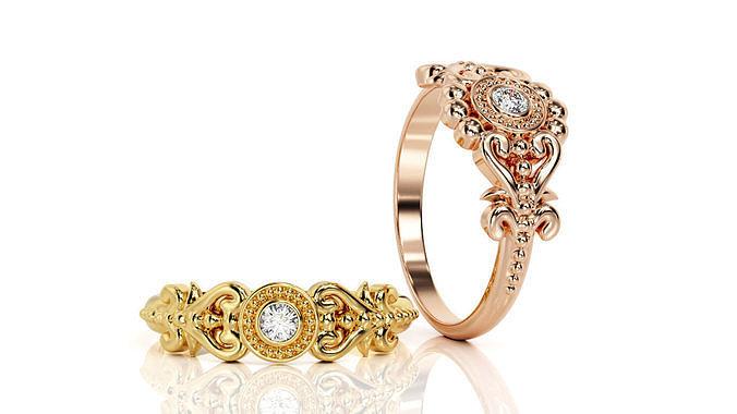 ring classic r c 0001 and ring classic r c 0001v2 3d model obj mtl 3ds stl 3dm 1
