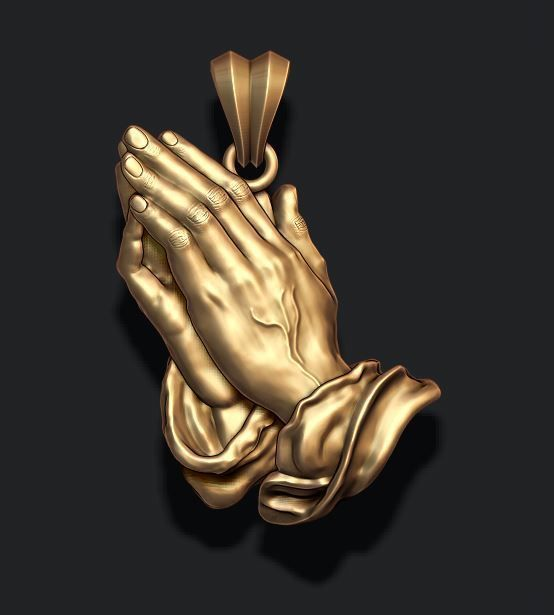 Praying Hands Pendant Necklace bas-relief