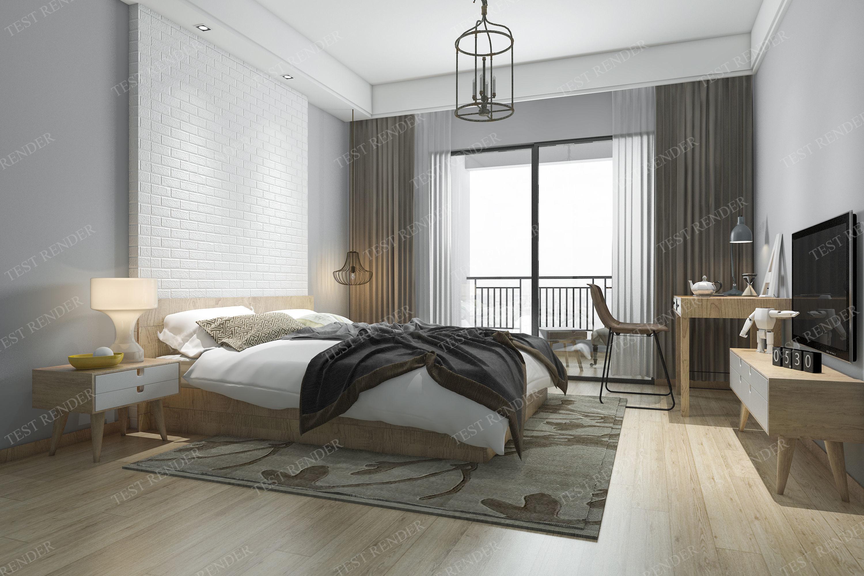 minimal brick modern bedroom suite in hotel 3D | CGTrader