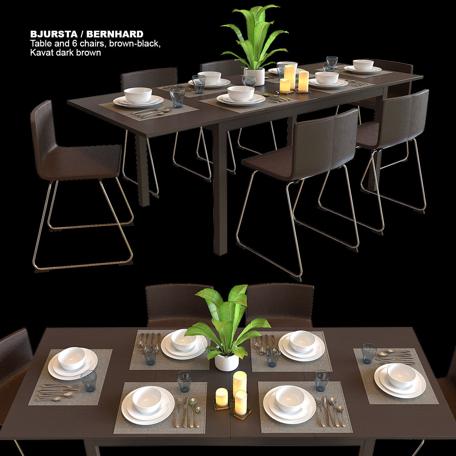 3d Table And Chairs Ikea Bjursta Bernhard Cgtrader