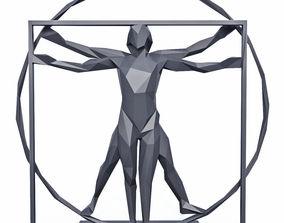 The Vitruvian Man Sculpture Low Poly 3D asset