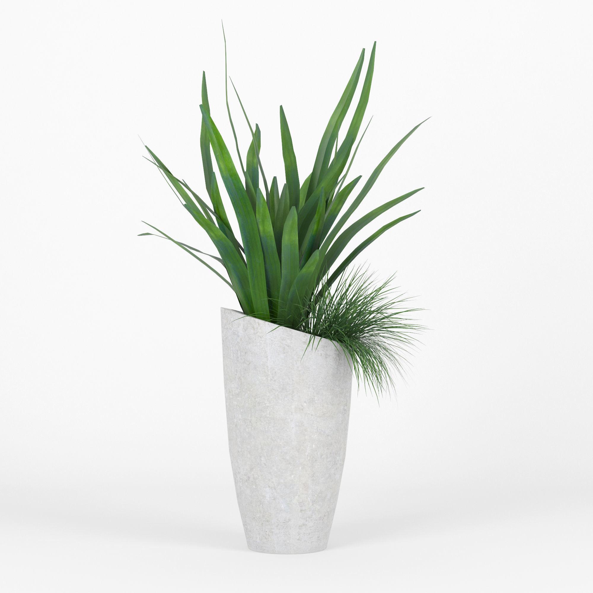 Slant Light Grey Tall Planter grass   3D model