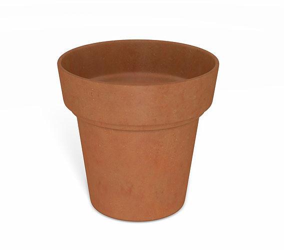 flower pot - clay 3d model obj mtl 3ds fbx dae 1