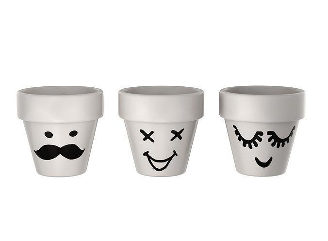 flower pots - emoji 3d model obj mtl 3ds fbx dae 1