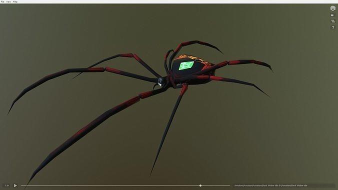 black widow emerald spider 3d model obj mtl fbx blend 1