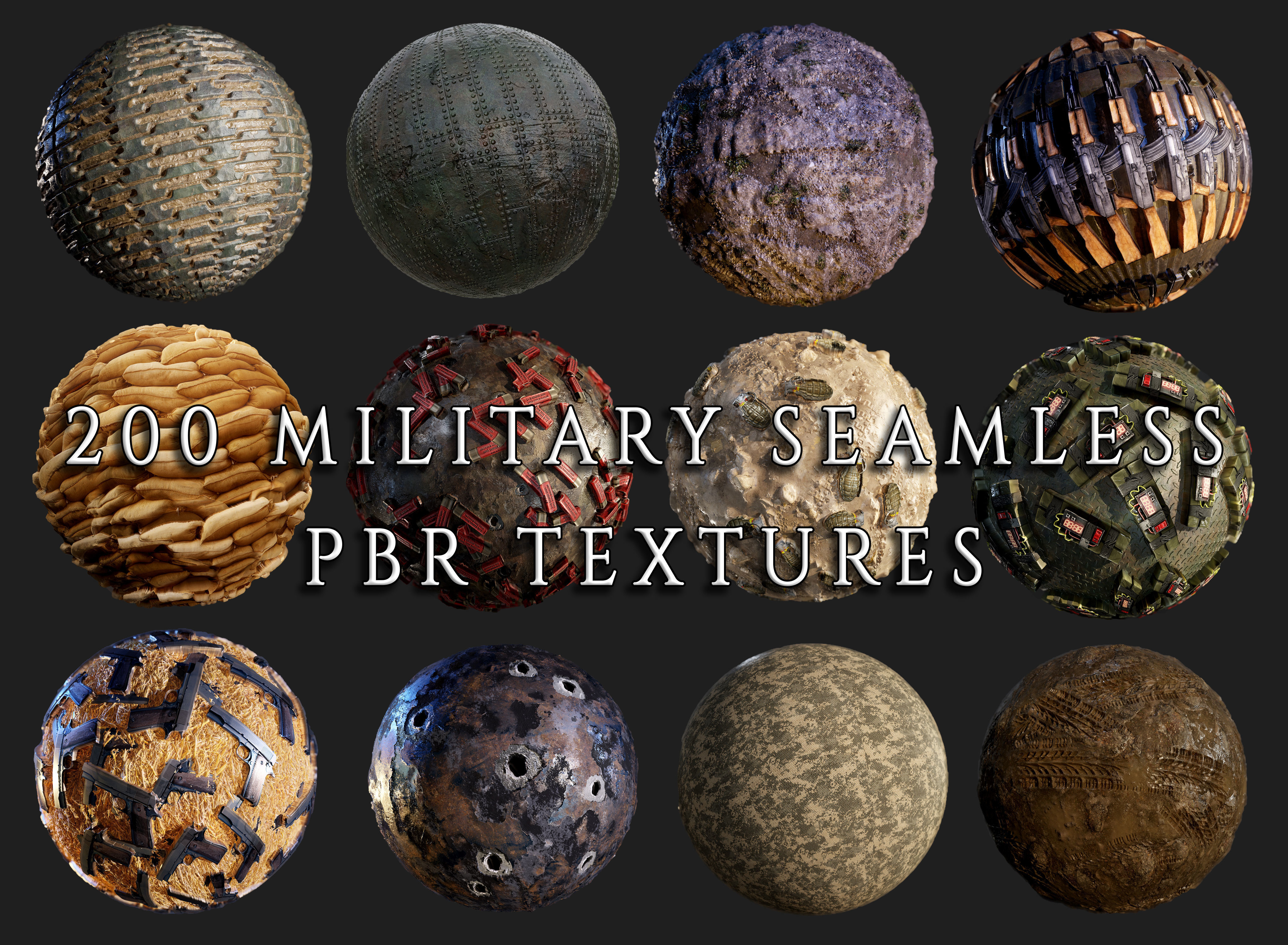 200 Military War Seamless PBR Textures