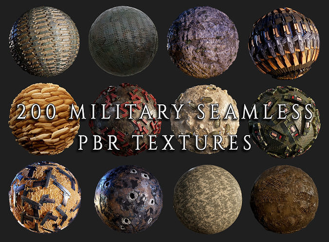 200 military war seamless pbr textures 3d model obj mtl 1