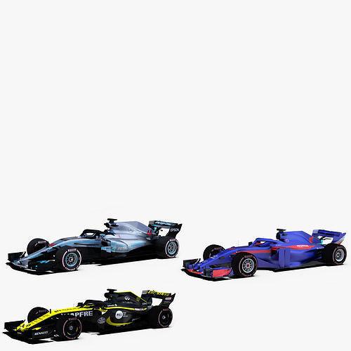 formula 1 2018 cars pack 3 3d model rigged obj mtl 3ds fbx c4d ma mb stl 1