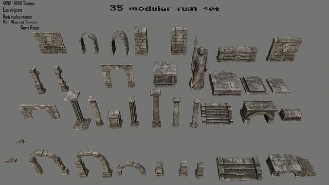ruin set 1 3d model low-poly obj mtl fbx blend 1