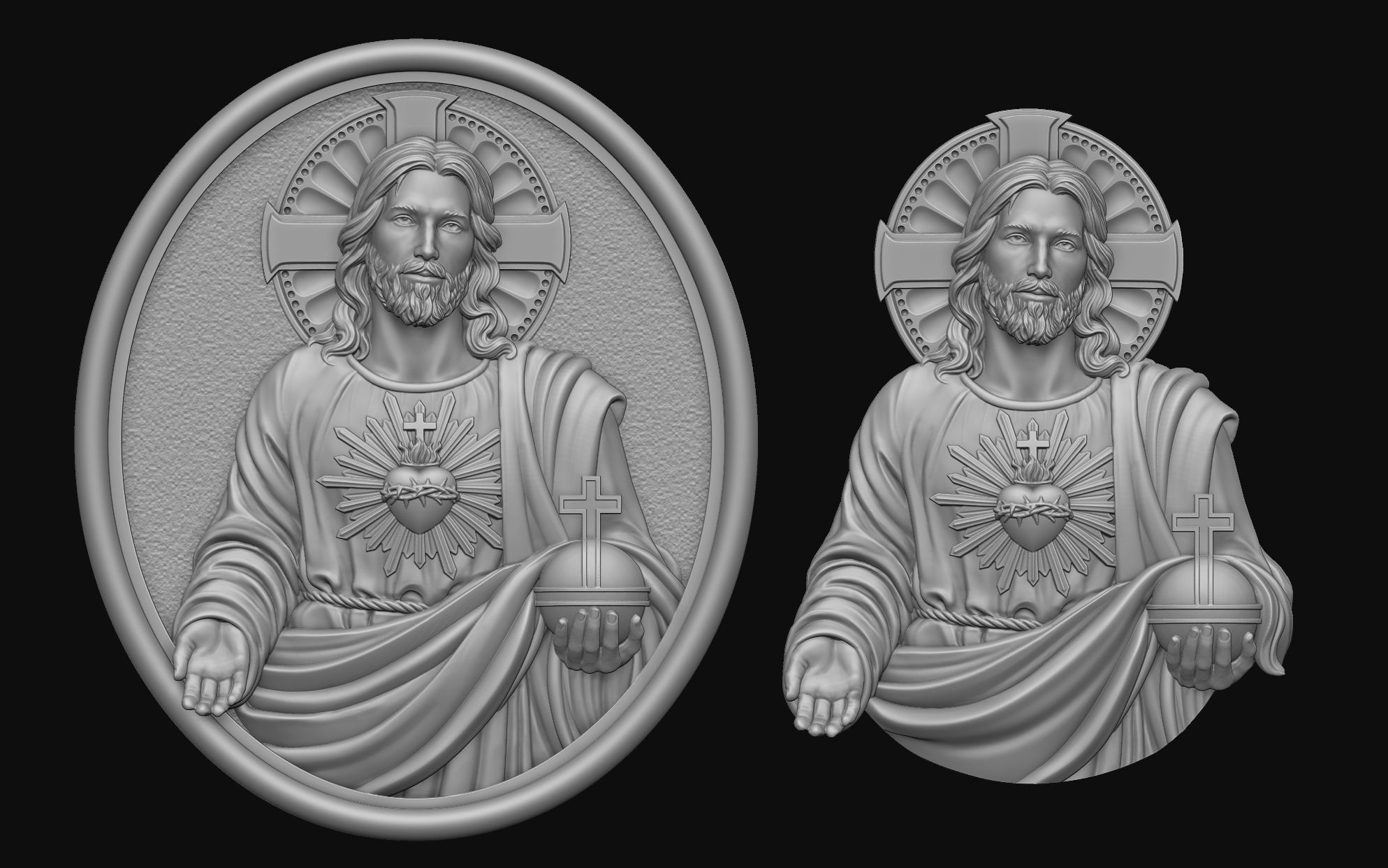 Jesus With Sacred Heart Pendant 2