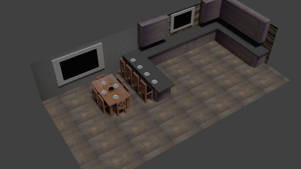 3d model kitchen set vr ar low poly blend for Model model kitchen set