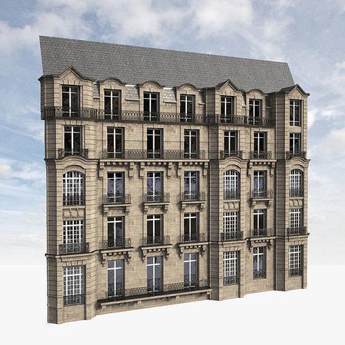parisian facade 3d model max 1
