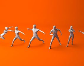 3D model 7 Fighting Moves Lowpoly People Minimalist