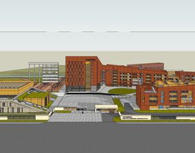 3D model Primary and secondary school building design 2