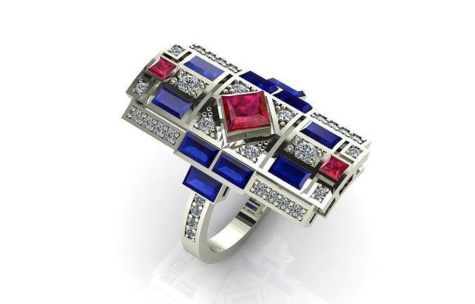 fashion ring with fancy stones  3d model stl 1