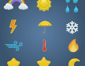 3D model Weather Cartoon Icons