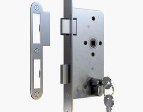 3D model Euro Profile Cylinder Barrel Lock with