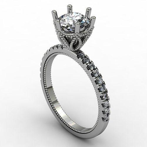 engagement ring with patterned basket 3d model stl 1