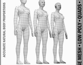 Female Base Mesh Natural Proportions in Rest Pose 3D asset