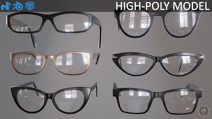 glasses eyewear and spectacles 3d model obj mtl fbx blend lxo lxl 1