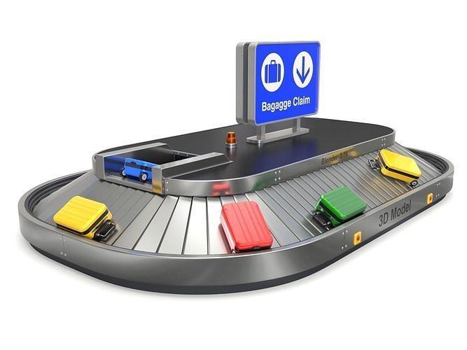 airport claim transporter with baggage 3d model obj mtl fbx blend 1