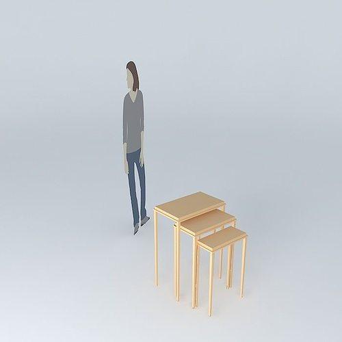 nesting brown table 3d model max obj 3ds fbx stl dae 1