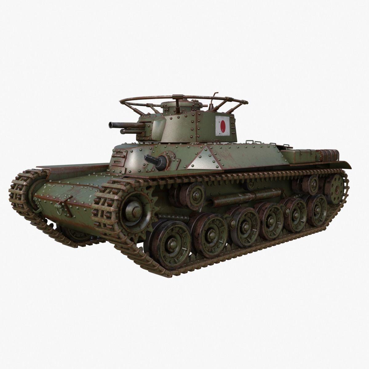 Tank Type 97 Chi Ha Green Japan Mental ray