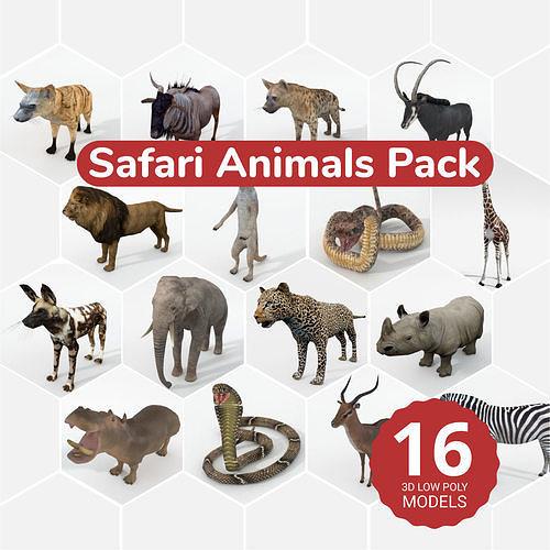 16 african safari pack 3d model obj mtl 3ds fbx ma mb stl blend 1